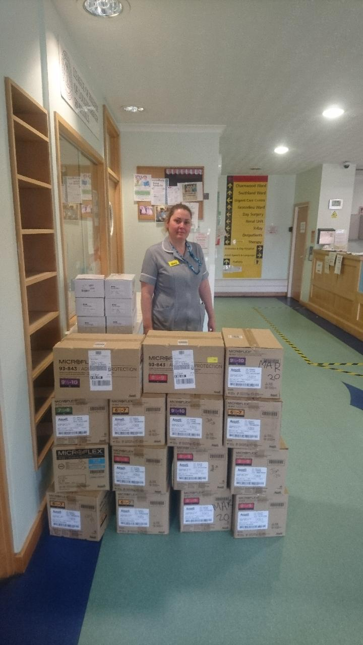 Photo of the University's PPE donations for Loughborough Hospital