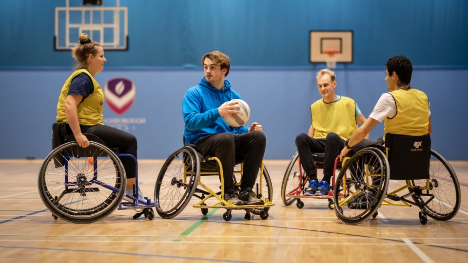 wheelchair basketball in action