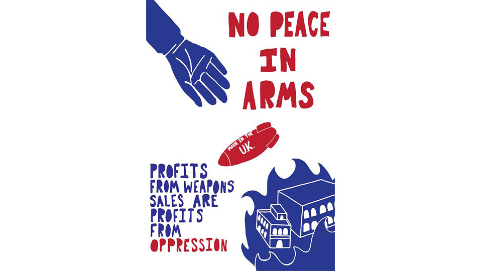 Kelsey's blue, red and white poster with the words 'No peace in arms' in bold