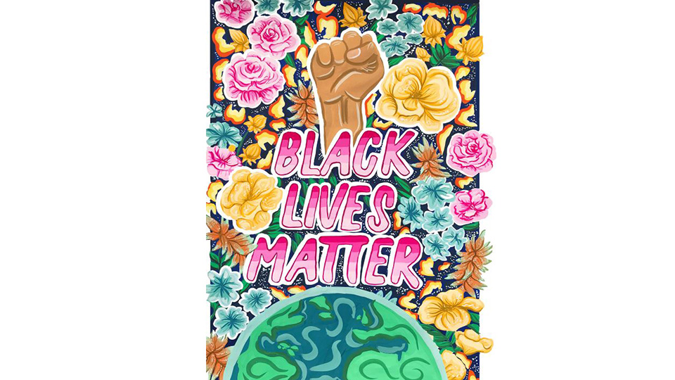 Image of Florences' poster about the Black Lives Matter movement, a floral design with a Black fist at the top