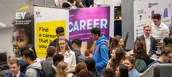 view across the loughborough university careers and placements fair