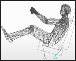 One of the simulations showing the rearwards rotation of the reactive car seat.