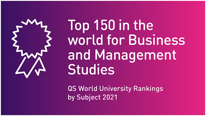Top 150 in the world for Business and Management Studies (QS World University Rankings by Subject 2021)