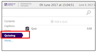 Quizzing link in the navigation pane