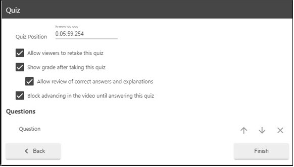 Managing the quiz settings