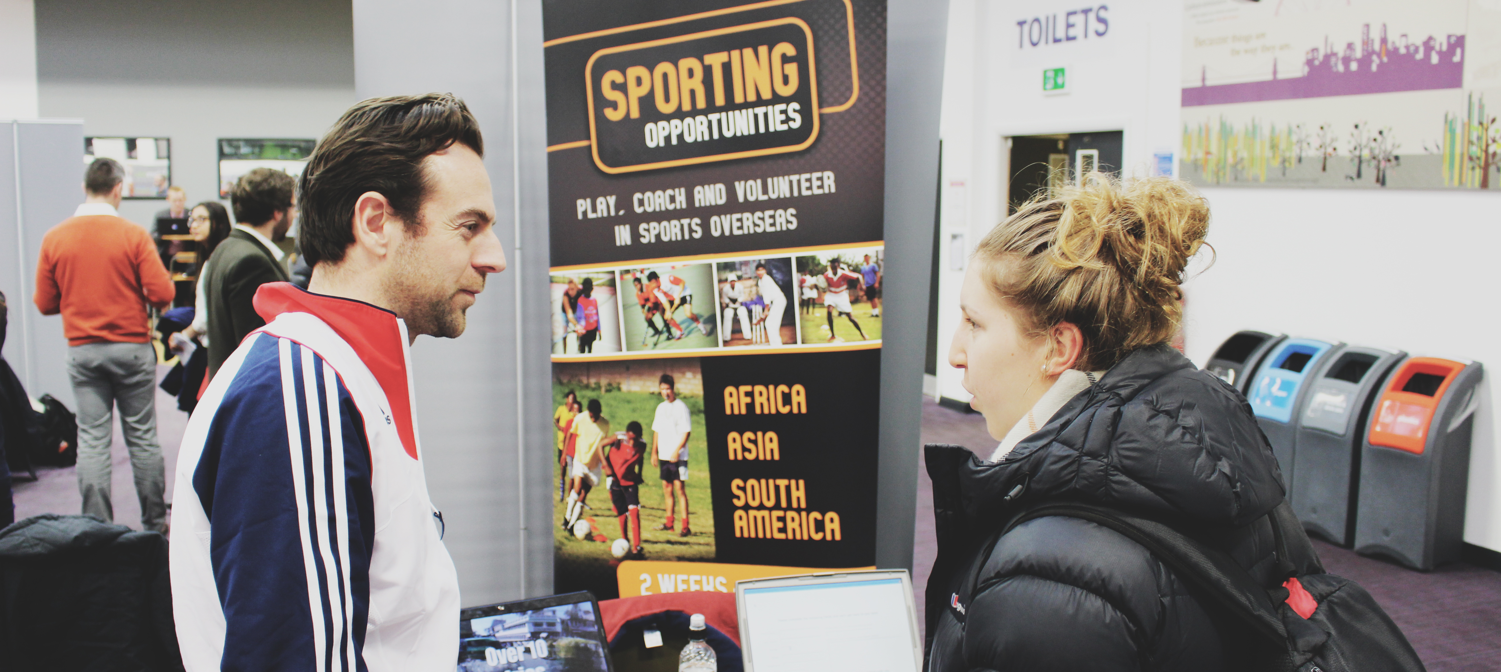 Photo of sporting opportunities employer at careers fair