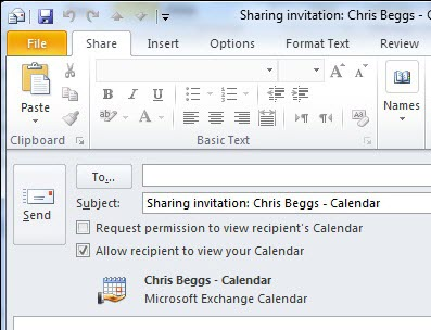 Screen image: Sharing invitation.