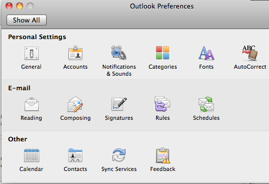 Screen image: Outlook Preferences.