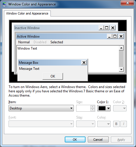 Screen image: Windows Color and Appearance.