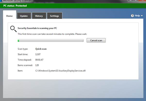 Screen image: Security Essentials is scanning your PC.