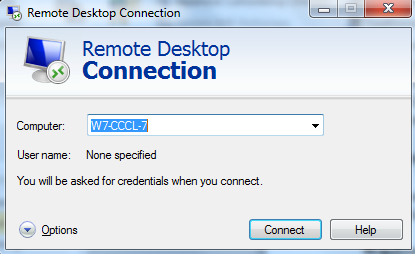 Screen image: Remote Desktop Connection.