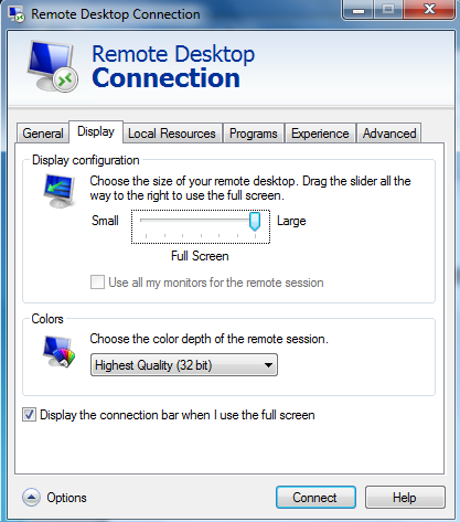 Screen image: Remote Desktop Connection - Display.