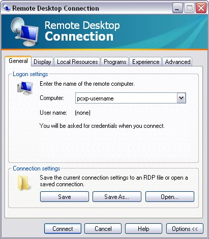 Screen image: Remote Desktop Connection - General.