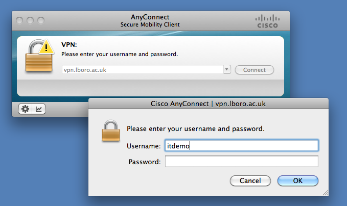 Screen image: Cisco AnyConnect Secure Mobility Client.
