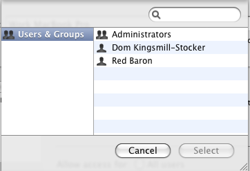 Screen image: Users and Groups.
