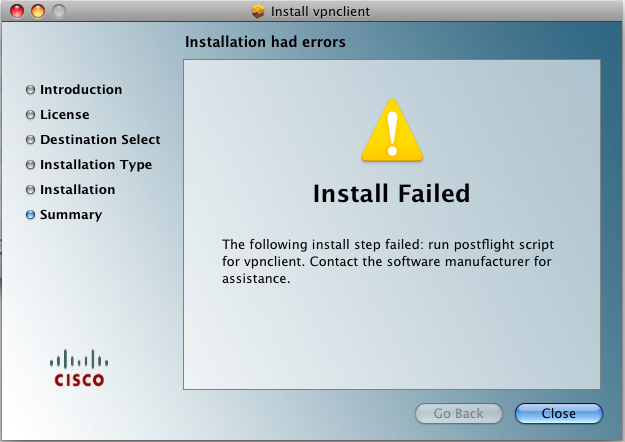 Screen image: Installation Failed.