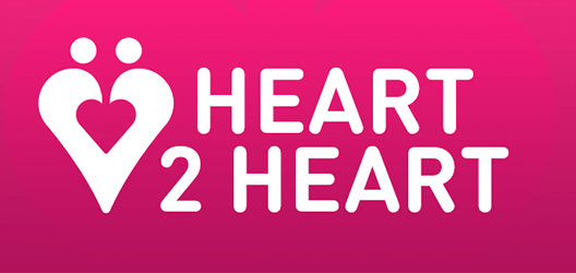 Pictured are the words Heart 2 Heart on a pink back ground with a heart icon.