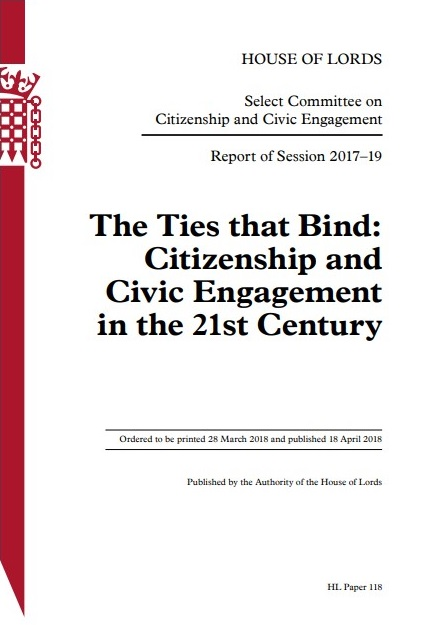 A House of Lords paper on citizenship and civic engagement that received contributions from numerous Loughborough academics