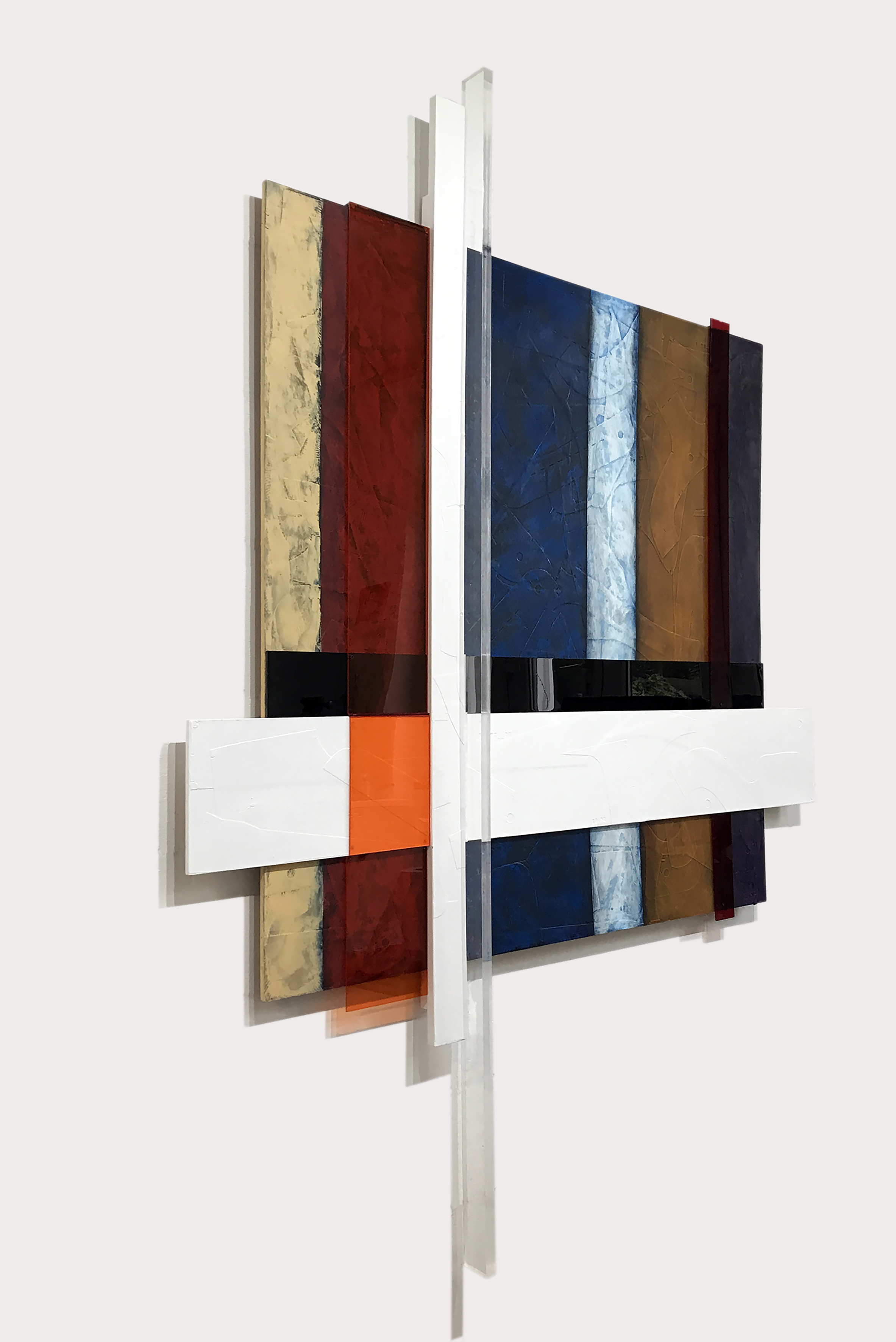 Photo of one of John Atkin's paintings - a piece with mixed coloured materials