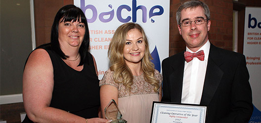 Stacey Pitchford with her certificate and the judges at the BACHE awards