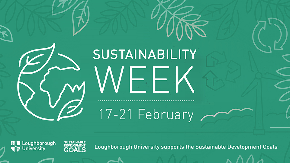 green background with foliage and wind turbine and globes included. Writing that says 'Sustainability Week' and text to say the University supports the SDGs