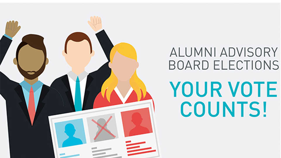 animated graphic to illustrate voting now open for alumni advisory board
