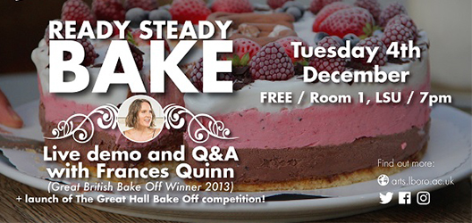 poster to promote launch of bake off competition with image of Frances Quinn