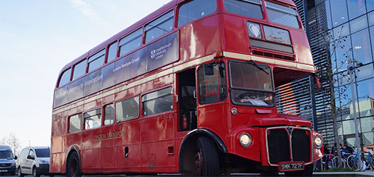 Pictured is the Loughborough University London bus that took part in the London Venture Crawl 2018.