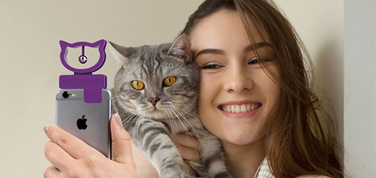 photo of Cat Selfie accessory on a phone with a woman holding a cat and taking a selfie