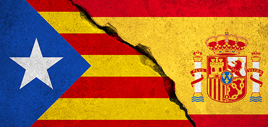 catalonia and spanish flag to promote lecture