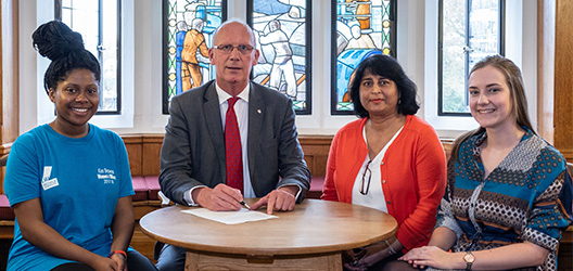 Pictured from the left is Loughborough Students' Union (LSU) Women's Officer Kes Brown, Vice-Chancellor Professor Robert Allison, University Equality and Diversity Adviser Abida Akram, and LSU Welfare and Diversity Executive Officer Hannah Keating.