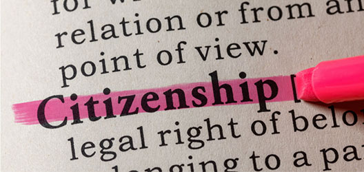 A book with the word 'citizenship' highlighted