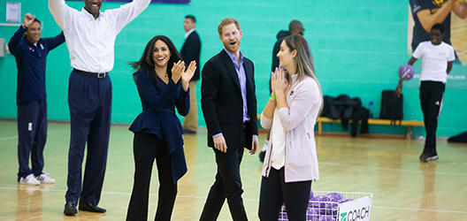 photo of The Duke and Duchess Prince Harry and Meghan playing netball at Loughborough University