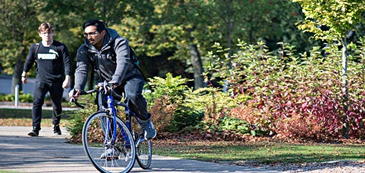 cyclist on campus