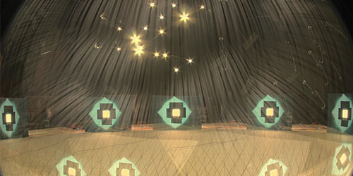 An image of a lab experiment, showing a starry ceiling effect