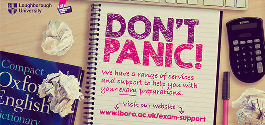 poster to advertise exam support, with notepad listing different topics covered by the Exam Support website