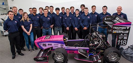 Formula student launch with 2018 racing car and team members of LU Motorsport