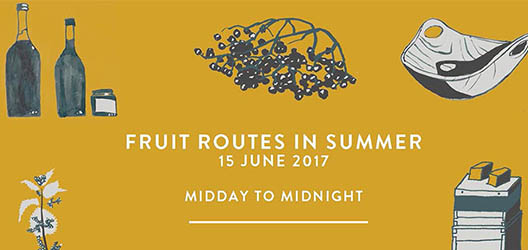 Fruit Routes summer midday to midnight poster