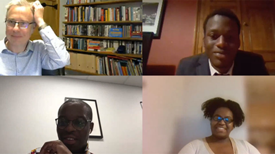Photo of Richard Taylor, Dr James Esson, Fejiro Amam and Tara Nadi