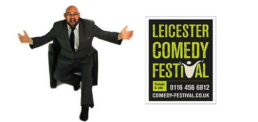 Pictured is Chris Norton Walker and the Leicester Comedy Festival logo.