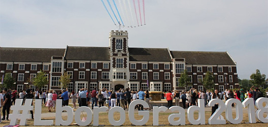 Pictured are Red Arrows flying over Loughborough University.