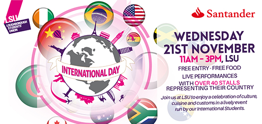 graphics for International Day 2018 - showing flags and a globe with LSU logo