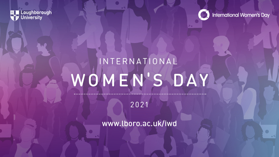 Purple gradient graphic with 'International Women's Day 2021' written on it, alongside the LU logo and the International Women's Day logo