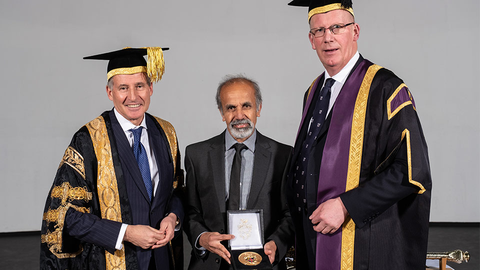 Chancellor of Loughborough University, Lord Sebastian Coe, Kuldeep Sahnsi, Loughborough University's Vice-Chancellor Professor Robert Allison.