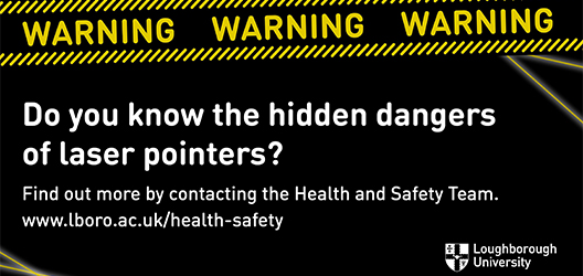 "poster to advertise laser point campaign that says ""Do you know the hidden dangers of laser pointers?"""