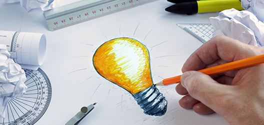 photo of lightbulb drawing for design project partnership