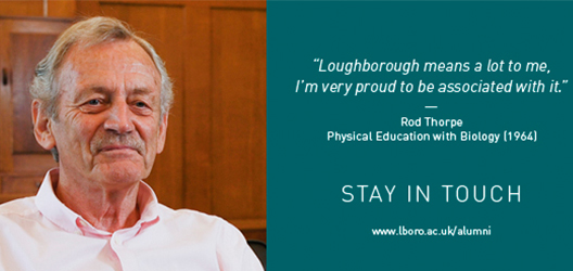 photo of Rob Thorpe, previous alumni, with a quote