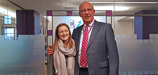 Pictured is Mia Beeson with University Vice-Chancellor Professor Robert Allison.