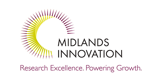 "Pictured is the Midlands Innovation logo. It features a sun graphic and the strap line: ""Research excellence. Powering growth."""