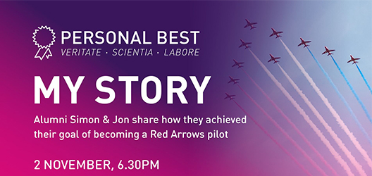 poster to advertise Red Arrow's Personal Best: My Story event, with photo of red arrows flying included